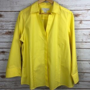 Foxcroft NYC Bright Yellow Button Front Blouse 16
